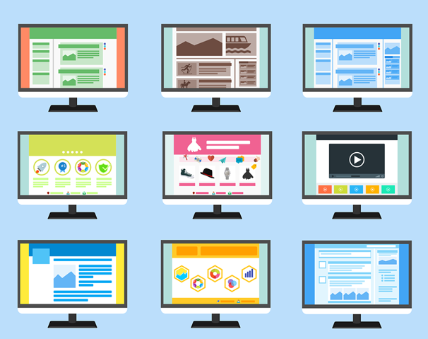 An illustration of nine computer monitors displaying different websites