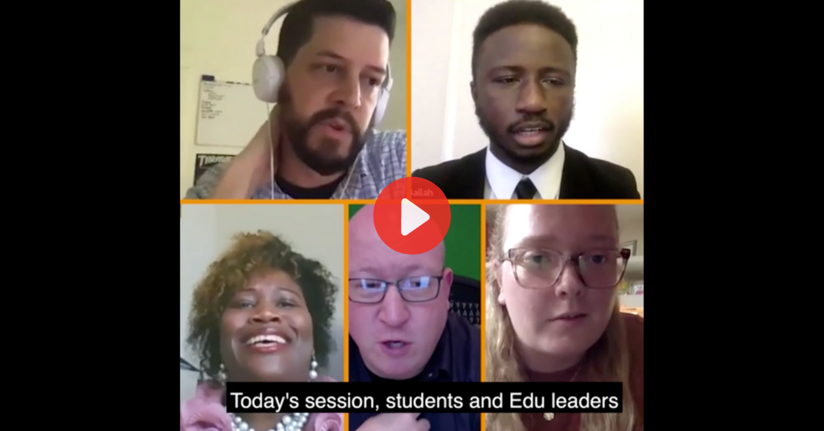Video screengrab from higher ed panel webinar