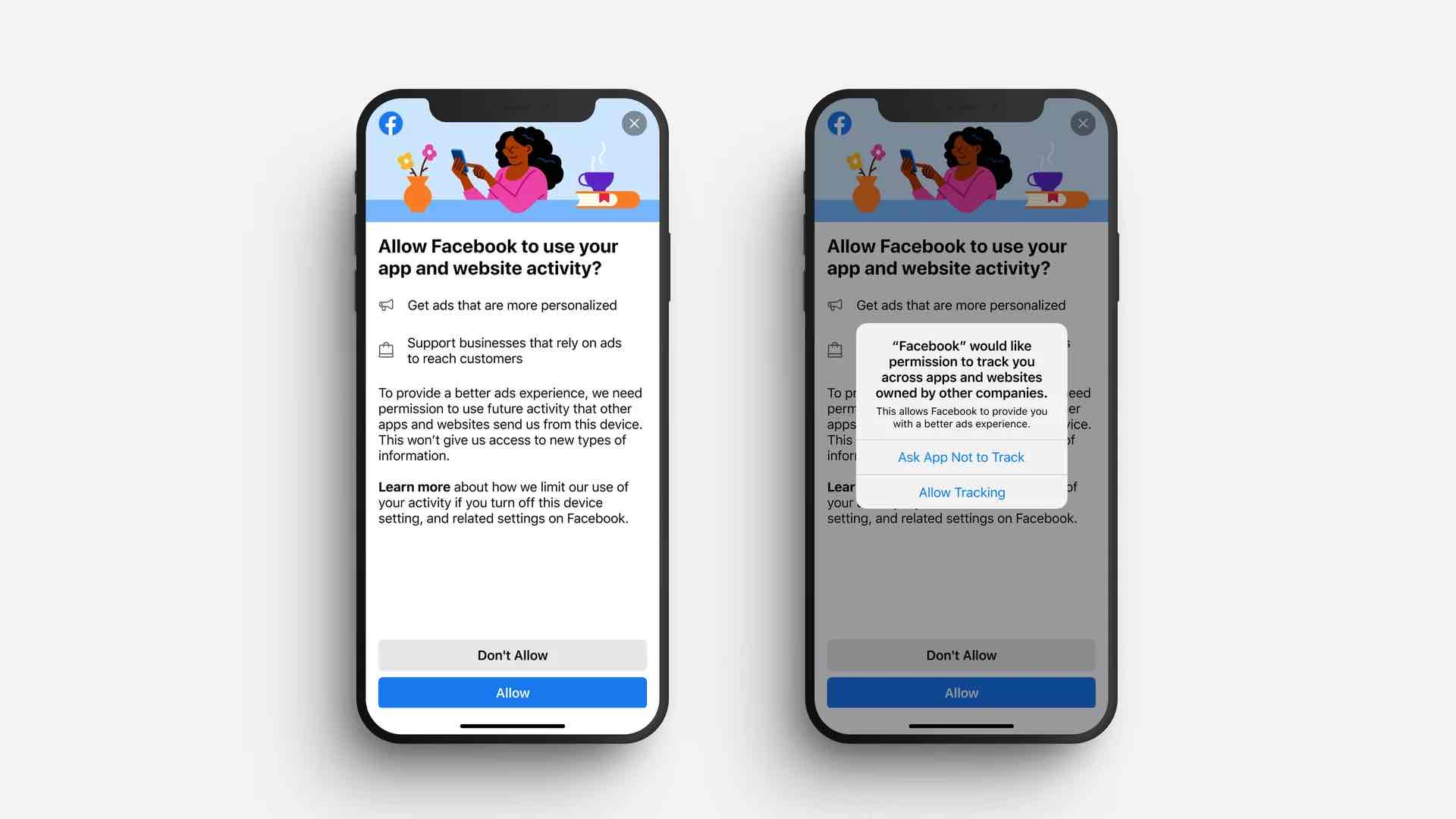 Two phone screens showing a Facebook ad-tracking prompt