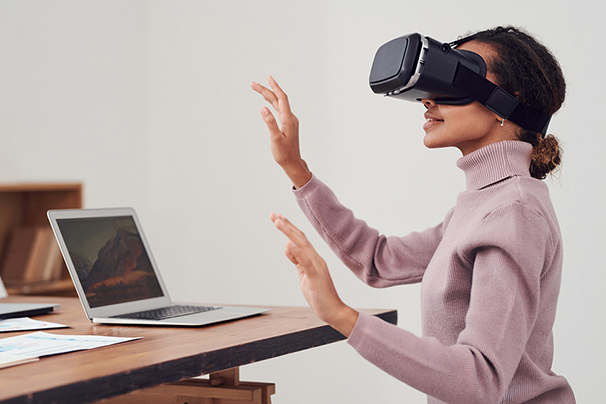 A woman wearing a virtual reality headset